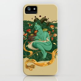 Green Witch with Frogs and Mushrooms iPhone Case