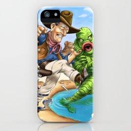 John Wayne VS. The Creature From The Black Lagoon iPhone Case