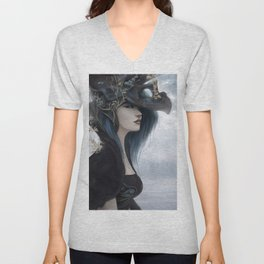 Bluish Black - Mysterious fantasy mage girl portrait Unisex V-Neck