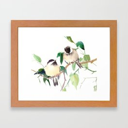 Chickadees, birds on tree, bird design neutral colors Framed Art Print