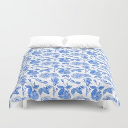 Blue Roses Watercolor Duvet Cover