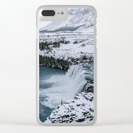 Waterfall in Icelandic highlands during winter with mountain - Landscape Photography Clear iPhone Case
