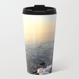 Sunset over Frozen Lake Travel Mug