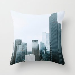 Rainy Downtown Seattle Skyscrapers Throw Pillow