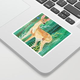 Painted Deer by June Jewell Sticker