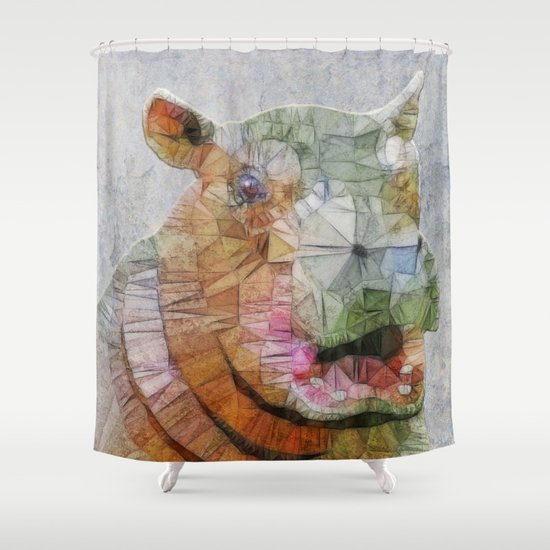 abstract hippo Shower Curtain