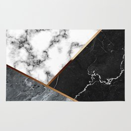 Elegant Silver Marble with Bronze Lining Rug