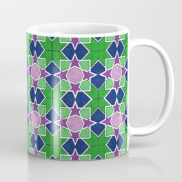 Islamic geometric star motif in green, blue and purple Coffee Mug