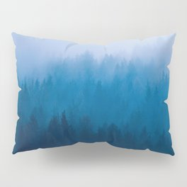 Blue Mountain Pine Trees Blue Ombre Gradient Colorful Landscape photo Pillow Sham