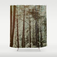 oregon Shower Curtains featuring Oregon Woods by Leah Flores