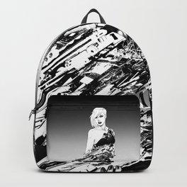 Badass girl with gun in comic pop art style Backpack