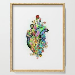 Flowers colorful heart watercolor Serving Tray