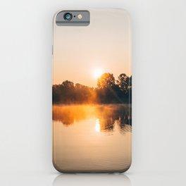 Dawn Mist Over Long Run Lake iPhone Case