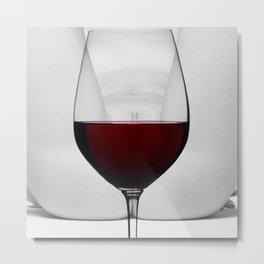 Red wine and naked woman Metal Print