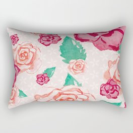 Pink and Peach Flowers in Watercolor Rectangular Pillow