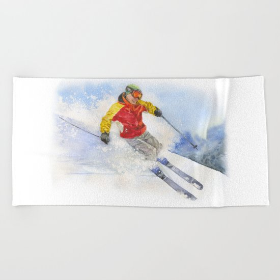Skier, watercolor paintingon . Beach Towel