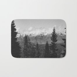 Snow Capped Sierras - Black and White Nature Photography Bath Mat