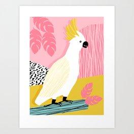 FeelFree - memphis throwback retro bird tropical nature animal parrot cockatoo 1980s 80s pop art Art Print