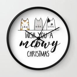 Meowy Christmas II Wall Clock