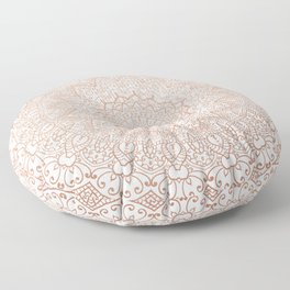 Mandala - rose gold and white marble 3 Floor Pillow