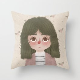 Green Hair Throw Pillow