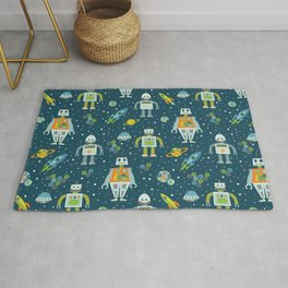 Robots in Space - Blue + Green Rug