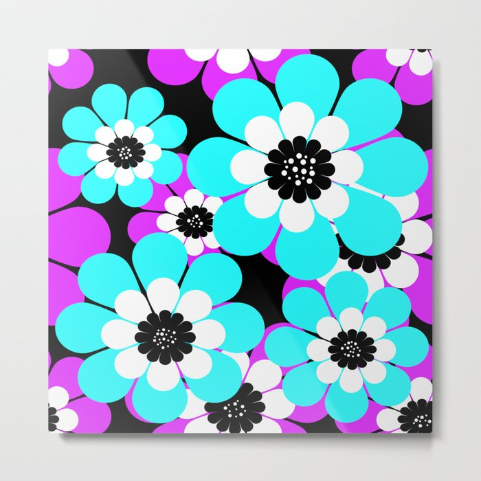 The floral pattern . Purple and turquoise flowers on a black background . Metal Print
