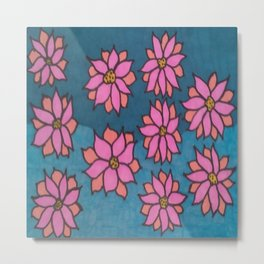 Pink and Blue Dahlia Print Metal Print