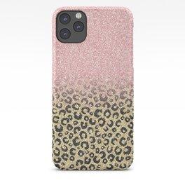 Elegant Rose Gold Glitter Black Leopard Print iPhone Case