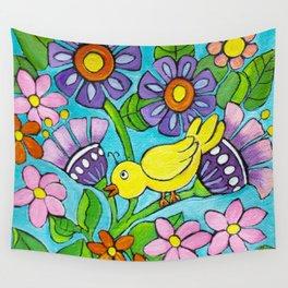 Springtime Series #5 Singing Bird Wall Tapestry