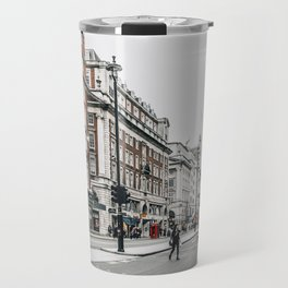 Red bus in Piccadilly street in London Travel Mug