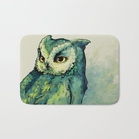 Green Owl Bath Mat