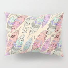 The feathers are multicolored on a beige background . Pillow Sham