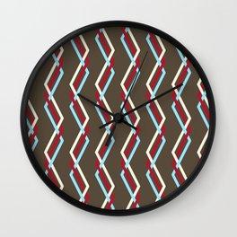 Mistlesnow Interweaving Zigzags on Brown Wall Clock