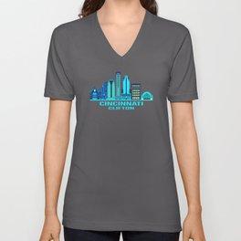 Cincinnati Clifton Ohio Skyline Unisex V-Neck