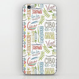 hand lettered italian word pattern iPhone Skin