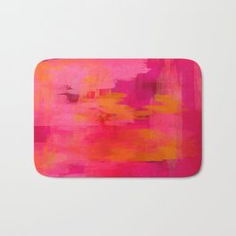 """Abstract brushstrokes in pastel pinks and solar orange"" Bath Mat"
