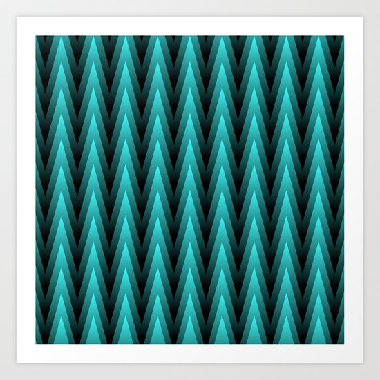 Spiky Chevrons, Teal/Black Art Print