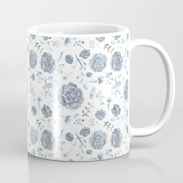 Flower Pattern - Gray/Blue/Charcoal Coffee Mug