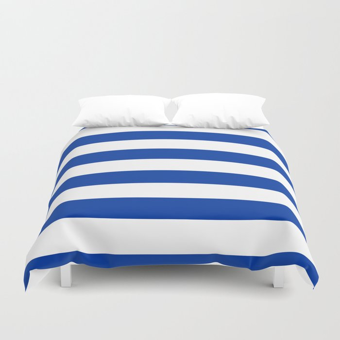 Dark Princess Blue and White Wide Horizontal Cabana Tent Stripe Duvet Cover