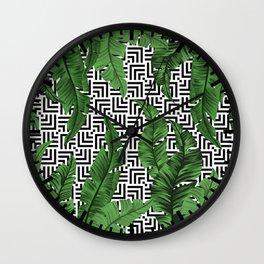 Tropical leaf pattern Wall Clock