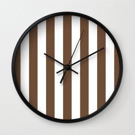 Vertical Stripes (Coffee/White) Wall Clock