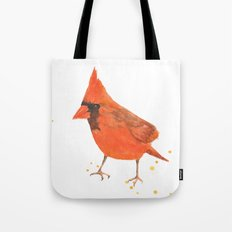 red bird, cardinal, male cardinal, bird painting, watercolor birds, gift for bird lover Tote Bag