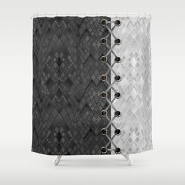 Lacing . 1 . Black and white snake. l Shower Curtain