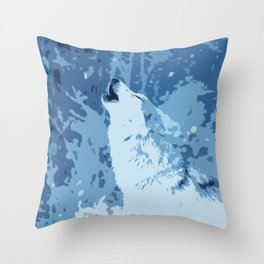 The Snow Wolf Throw Pillow