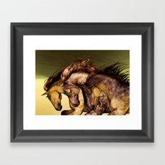 HORSES-Gunmetal Framed Art Print