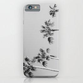 Black Palms // Monotone Gray Beach Photography Vintage Palm Tree Surfer Vibes Home Decor iPhone Case