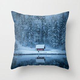 Winter trees - Moody version Throw Pillow