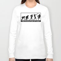 lacrosse Long Sleeve T-shirts featuring Lacrosse Evolution Of Man by YouGotThat.com