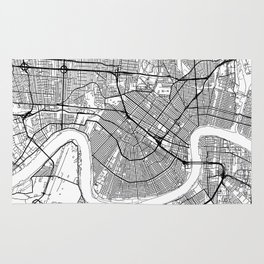 New Orleans Map White Rug